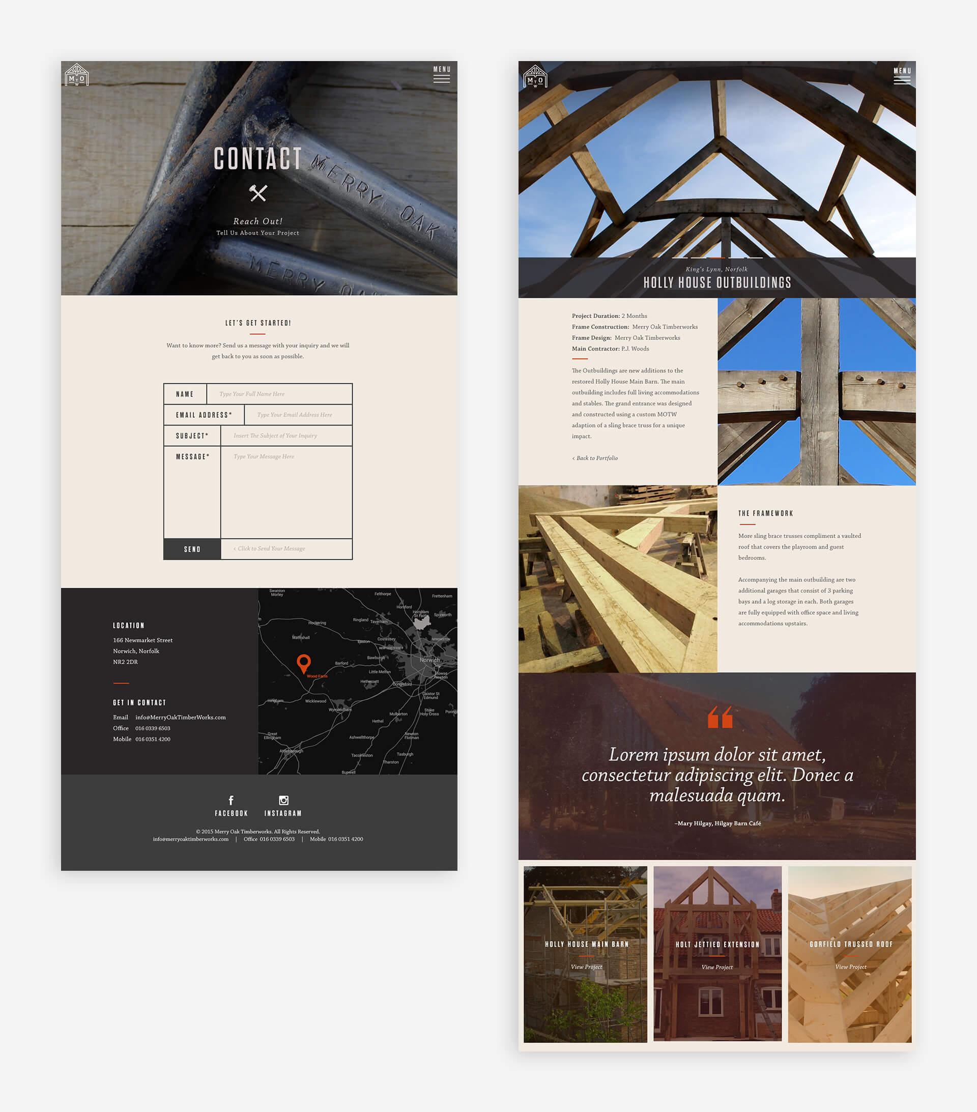 Merry Oak Timberworks web page design by Nicole Hammonds