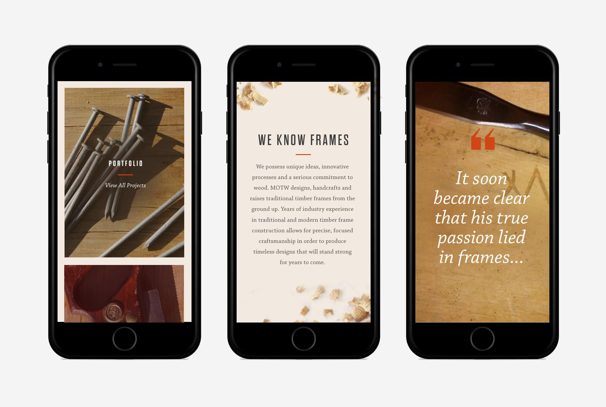 iPhones showing responsive Merry Oak site