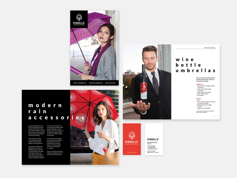 Vinrella Marketing materials showing catalog and business card design